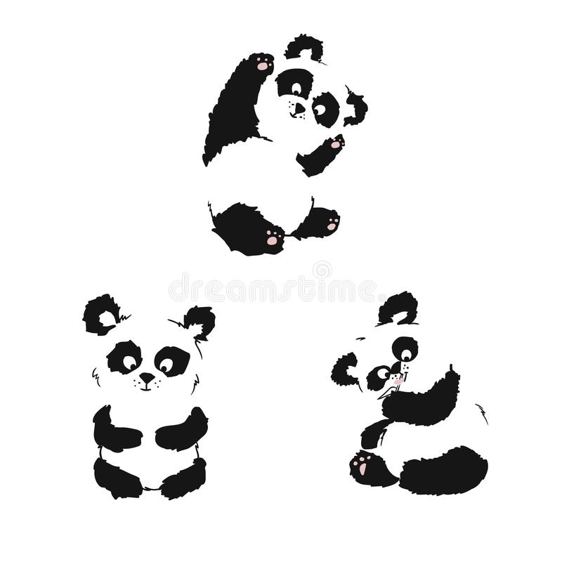 Set of silhouettes of sitting panda cubs. Hand drawing stock illustration