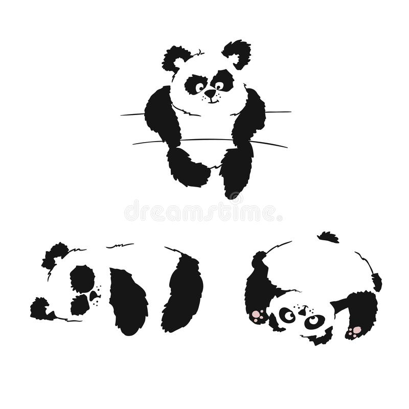 Set of silhouettes of sitting panda cubs. Panda slipping and playing. Hand drawing royalty free illustration