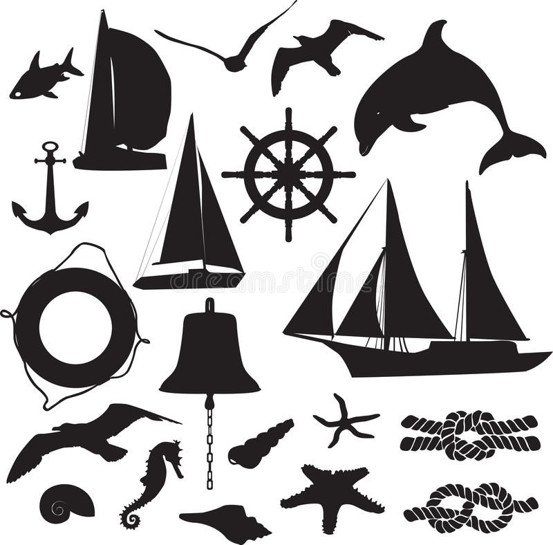 Download Set Of Silhouettes Symbolizing The Marine Leisure Stock Vector - Illustration of shellfish, scuba: 24715511