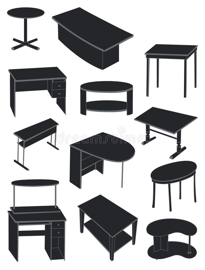 A set of tables. A set of silhouettes of tables isolated on white background royalty free illustration