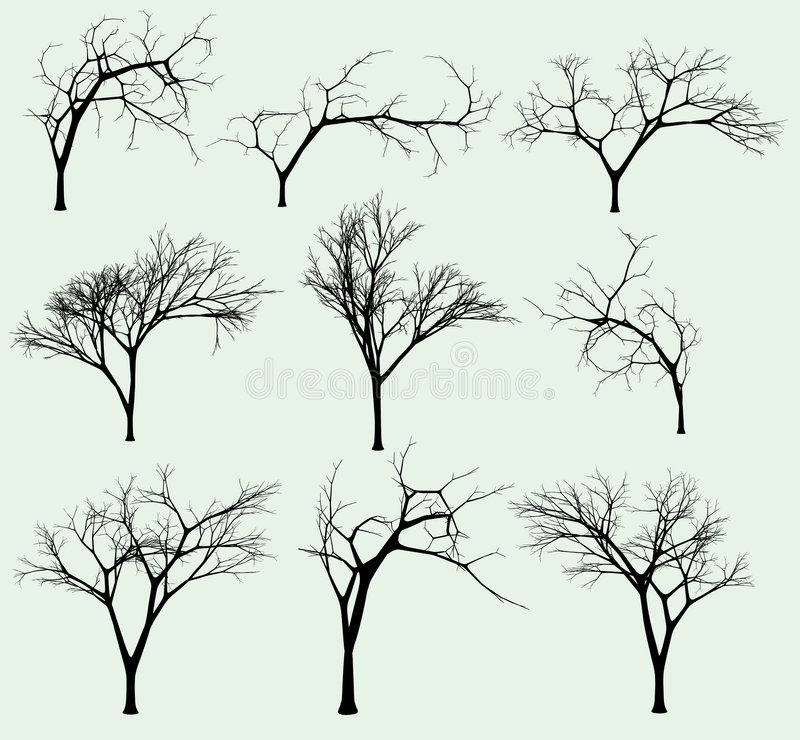 Set of silhouettes of trees stock illustration