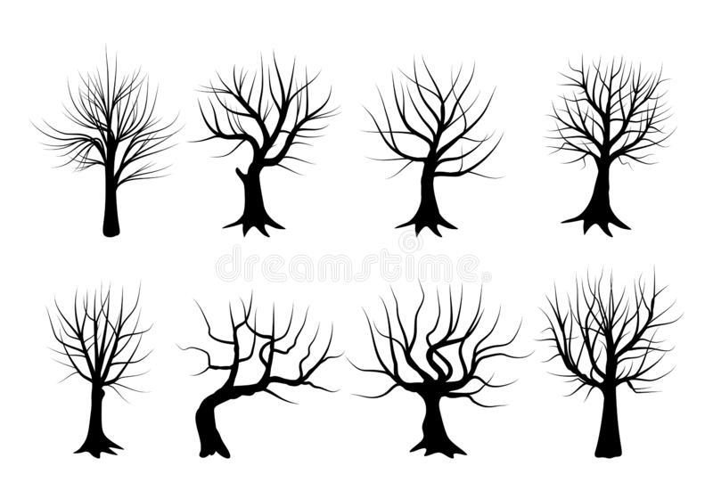 Set of silhouettes of trees in winter, stripped of their leaves. Vector illustration. vector illustration