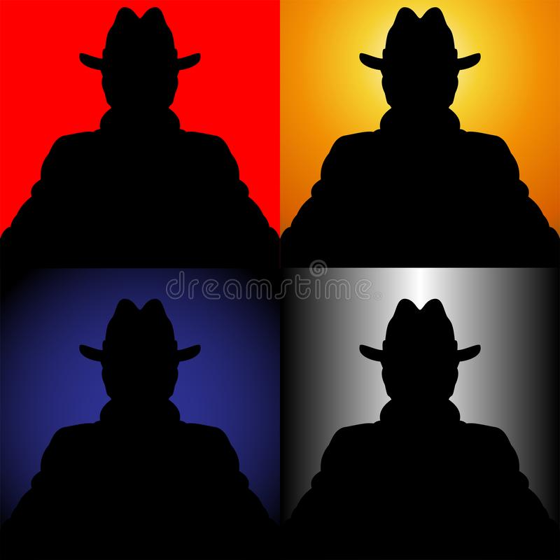 Set of silhouettes of the unknown in a hat royalty free illustration