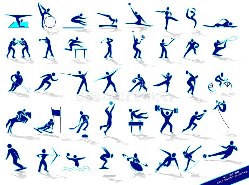 set silhouettessportar för blue stock illustrationer