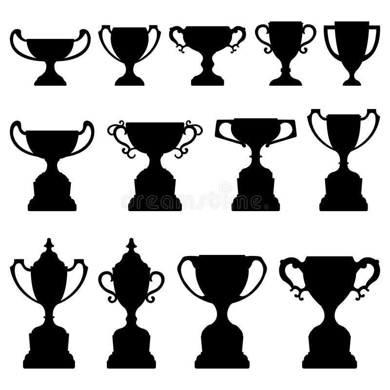 set silhouettetrofé för svart kopp stock illustrationer