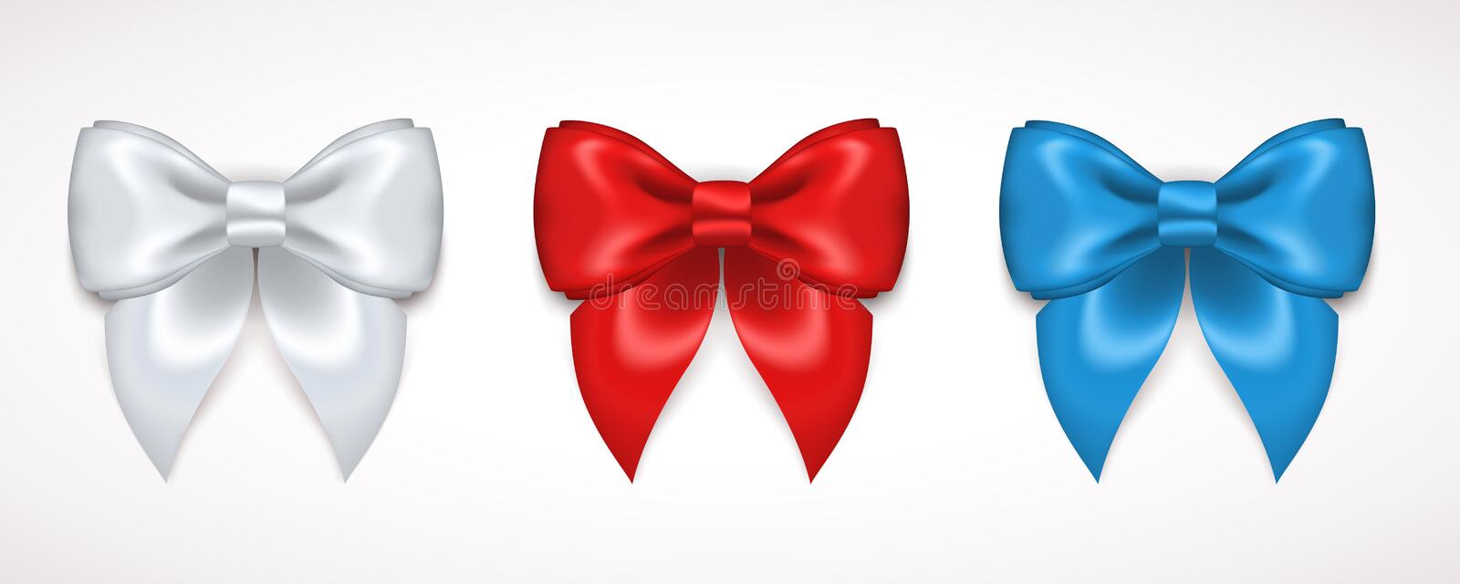 Set of Silk White, Red and Blue Bows. Set of Silk Bow. Vector Illustration. White, Red and Blue Bows for Gift Design, Invitation Decorative Cards, Voucher Design stock illustration