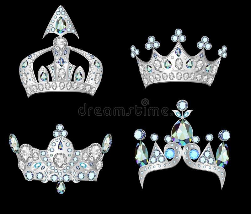 Set silver crowns on black background vector illustration