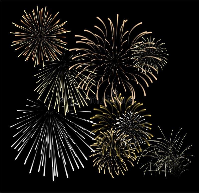 Set of silver and golden fireworks royalty free illustration