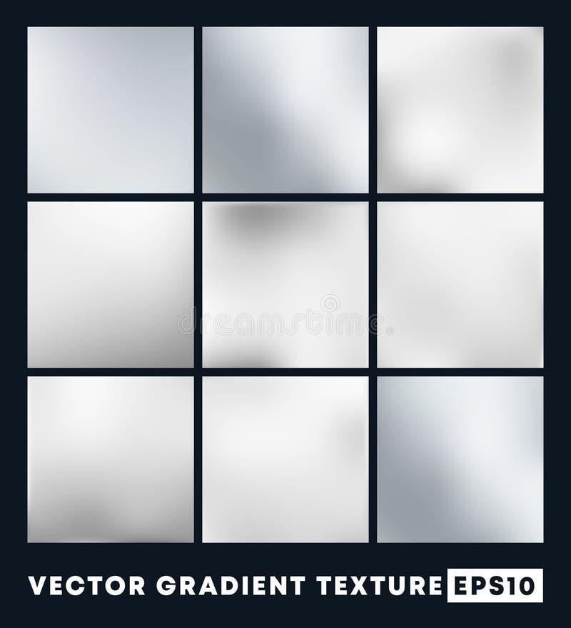 Set of silver gradient texture pattern background. Vector illustartion royalty free illustration
