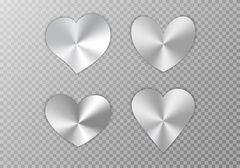 Collection of silver hearts. A set of silver hearts with a conical metallic gradient for a romantic design of congratulations for Valentine`s Day, the design of royalty free illustration