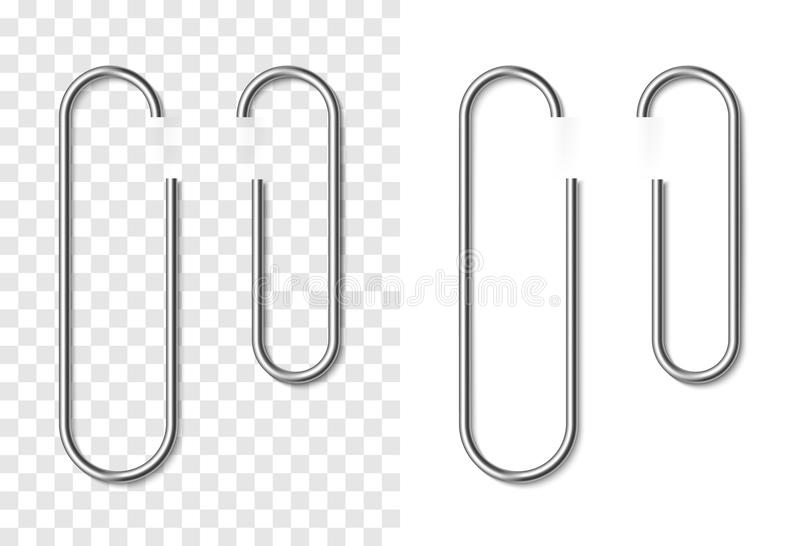 Set of silver metallic realistic paper clip. On white and transparent background. Paperclips with soft shadow. Template for your design vector illustration