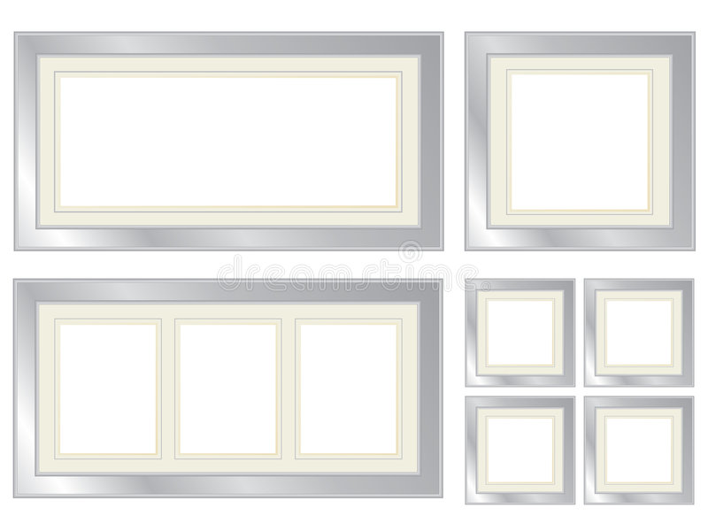 Set of silver picture frames royalty free illustration