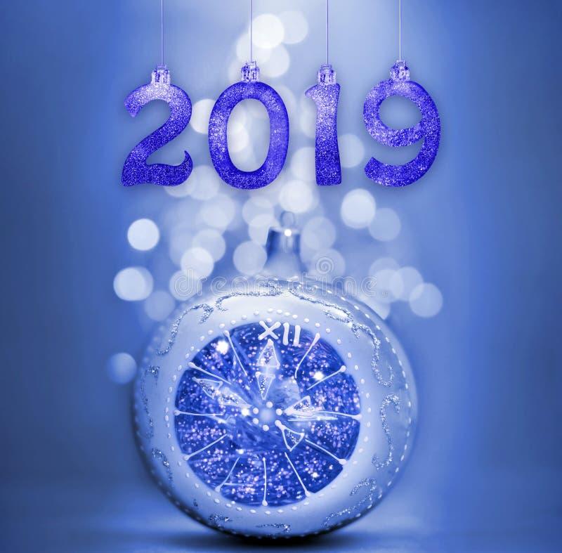 Set of silver shiny digits on glitter background. New year 2019 background. Christmas. Set of silver shiny digits on glitter background. New year 2019 stock photo