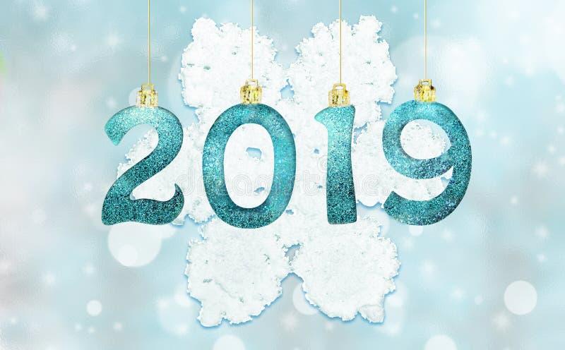 Set of silver shiny digits on glitter background. New year 2019 background. Christmas. Set of silver shiny digits on glitter background. New year 2019 stock image