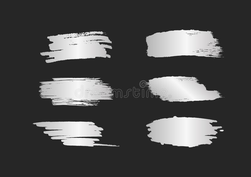 Set of silver smears. Silvery brush strokes with shine isolated on black background. stock illustration