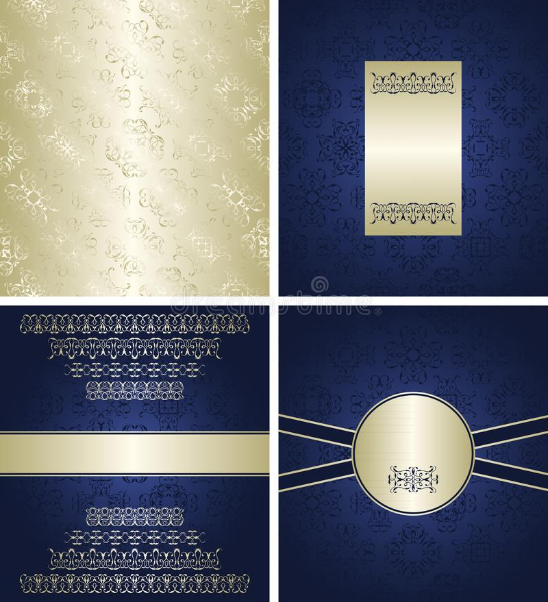Set of silver wallpaper and beauty cards vector illustration