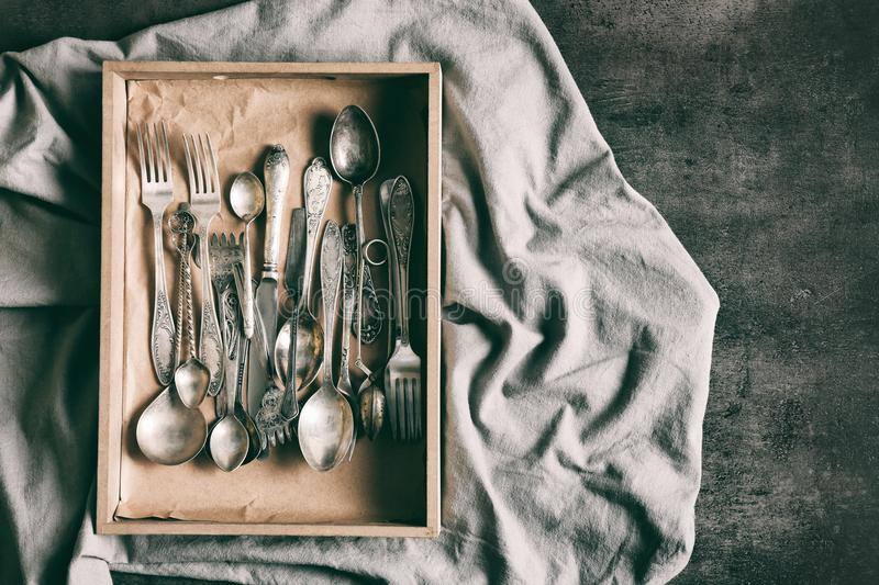 The Box With Flatware Stock Image Image Of Knife Stored
