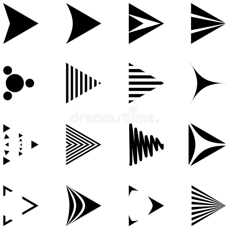 Set of 16 simple arrows icons stock photo