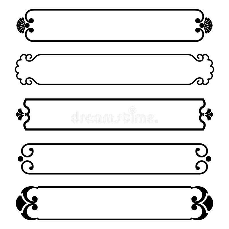 Set of simple black banners border frame stock illustration