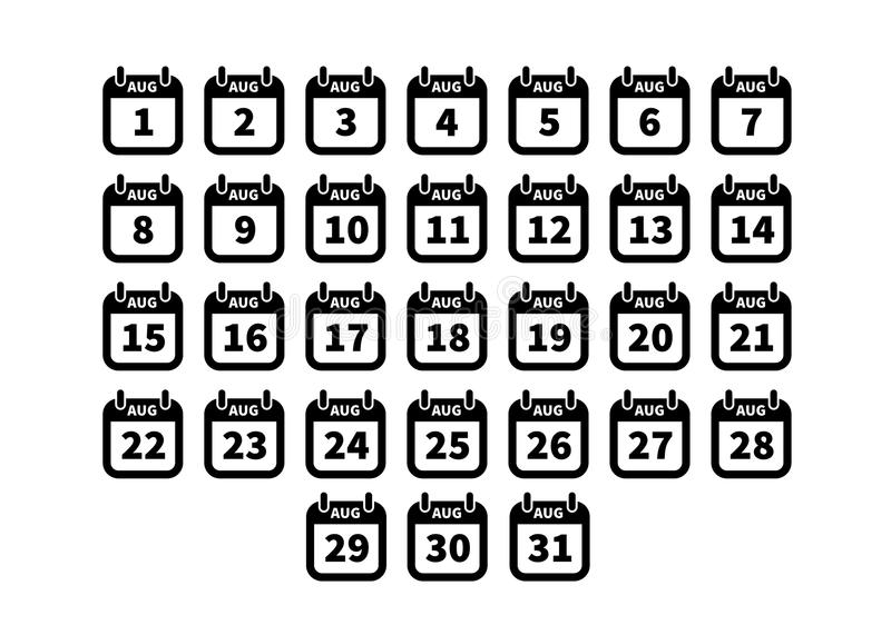 Set of simple black calendar icons on august isolated on white stock illustration