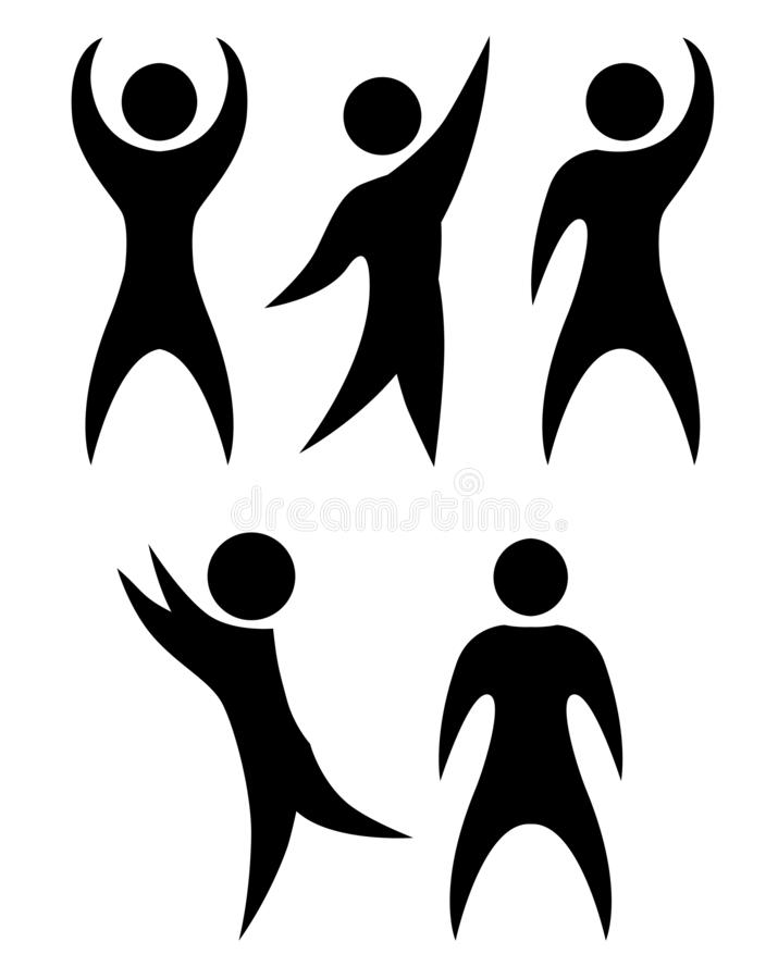 Set of simple black silhouettes of rejoicing and dancing people. The object is separate from the background. Vector element royalty free illustration