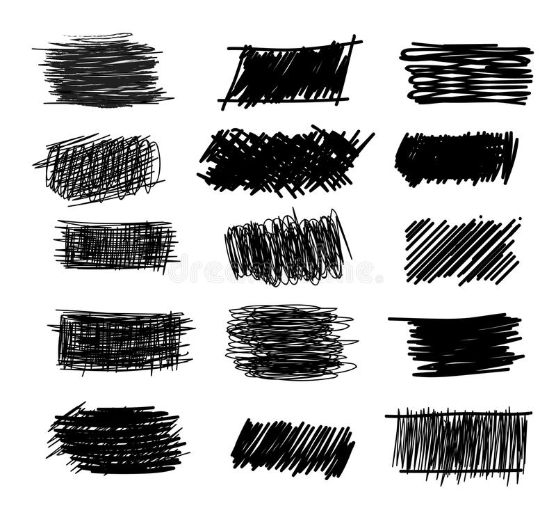 Set of simple bold hatching doodle lines, curves, frames. Pencil collection sketch isolated on white. Vector marker line blots set. Hand drawn black grunge vector illustration