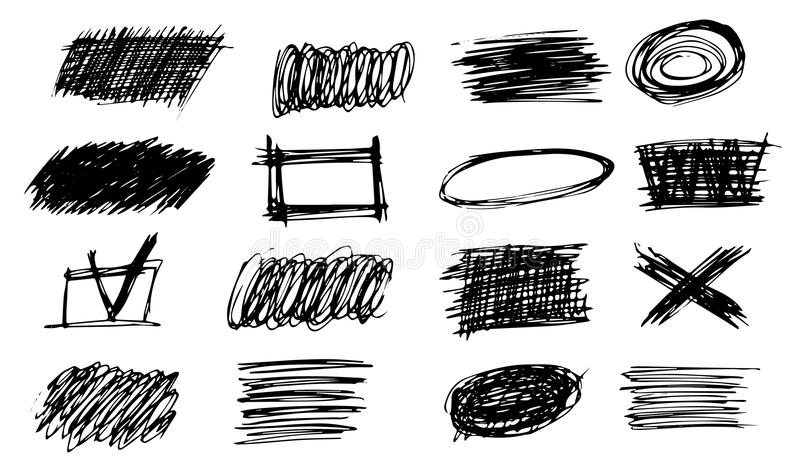 Set of simple bold hatching doodle lines, curves, frames. Pencil sketch isolated on white. Vector marker line blots set. Hand draw. N black grunge scribble royalty free illustration
