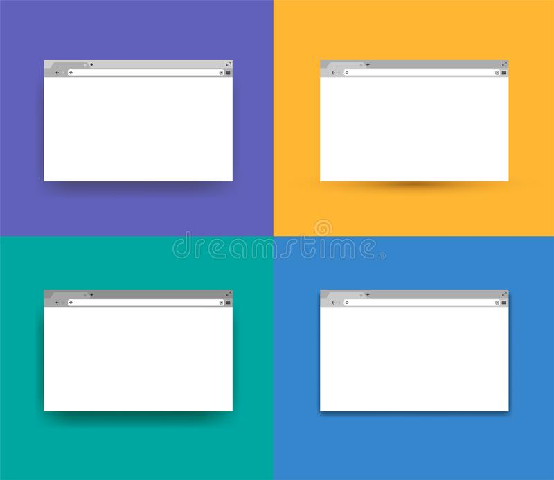 Set of Simple browser window, flat design. Vector illustration. Isolated on colorful background stock illustration