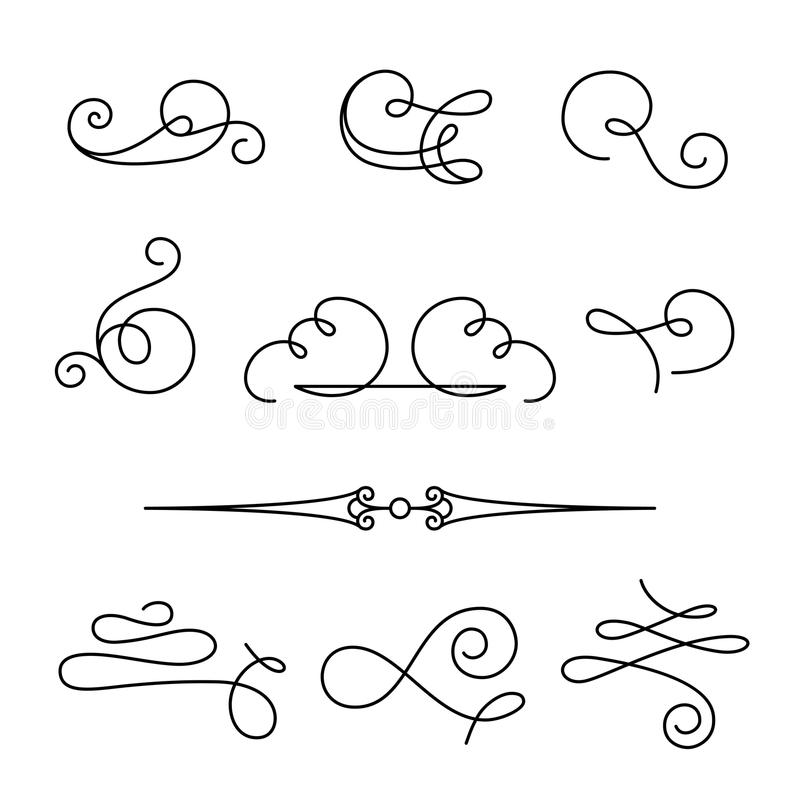 Set of simple calligraphic swirls and dividers stock