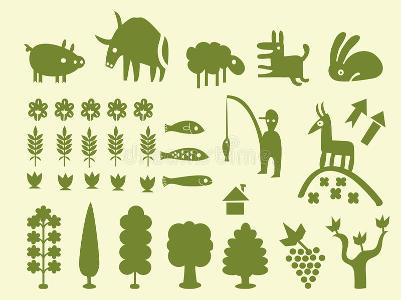 Download Set Of Simple Cartoon Silhouettes Stock Vector - Illustration of butterfly, earth: 18364630