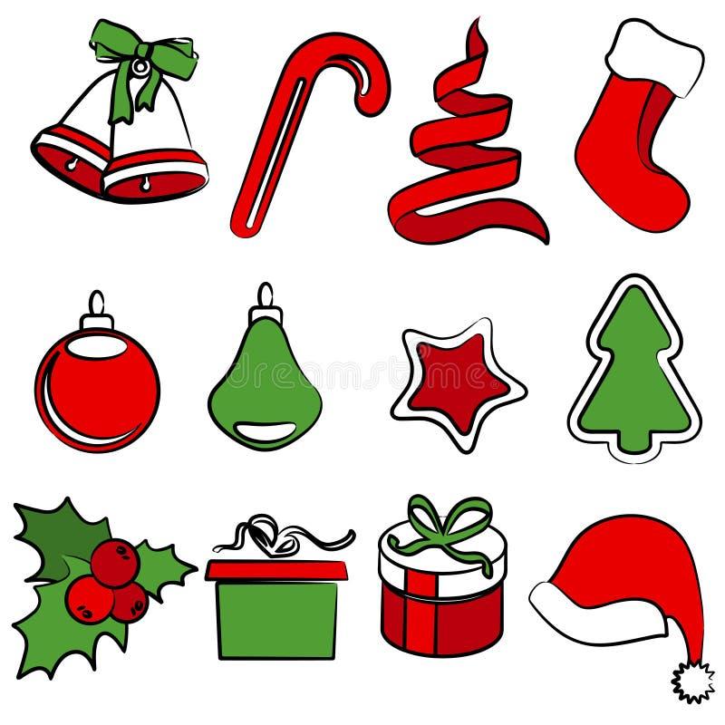 Set of simple Christmas icons
