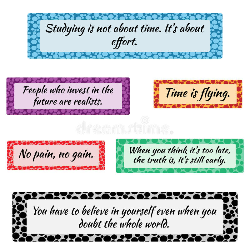 Success Quotes Colored Set Stock Vector. Illustration Of