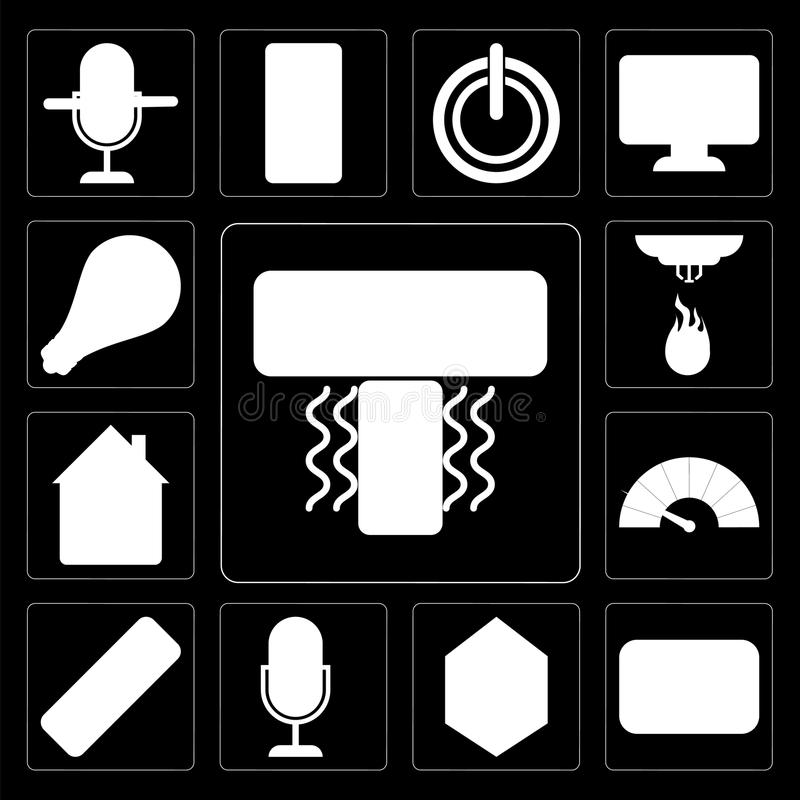 Set of Air conditioner, Thermostat, Home, Voice control, Remote, Meter, Sensor, Light, editable icon pack stock illustration