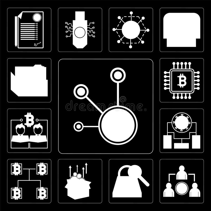 Set Of 13 Simple Editable Icons Such As Bitcoin Peer To Sha 2 Ico Blockchain Records Web Ui Icon Pack