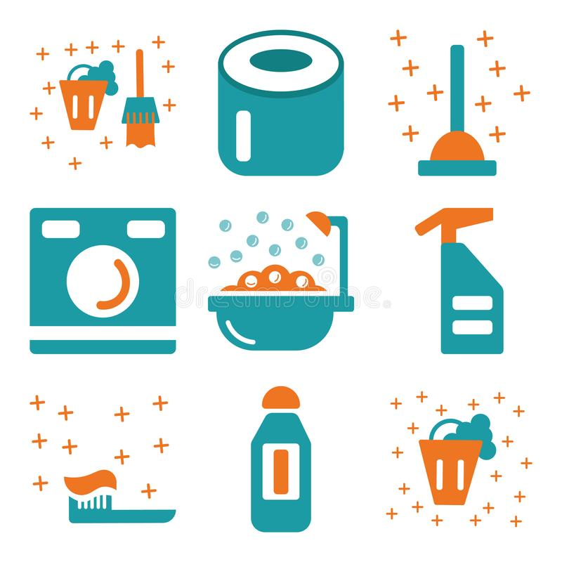 Set Of 9 Simple Editable Icons Such As Bucket, Bleach, Toothbrush ...