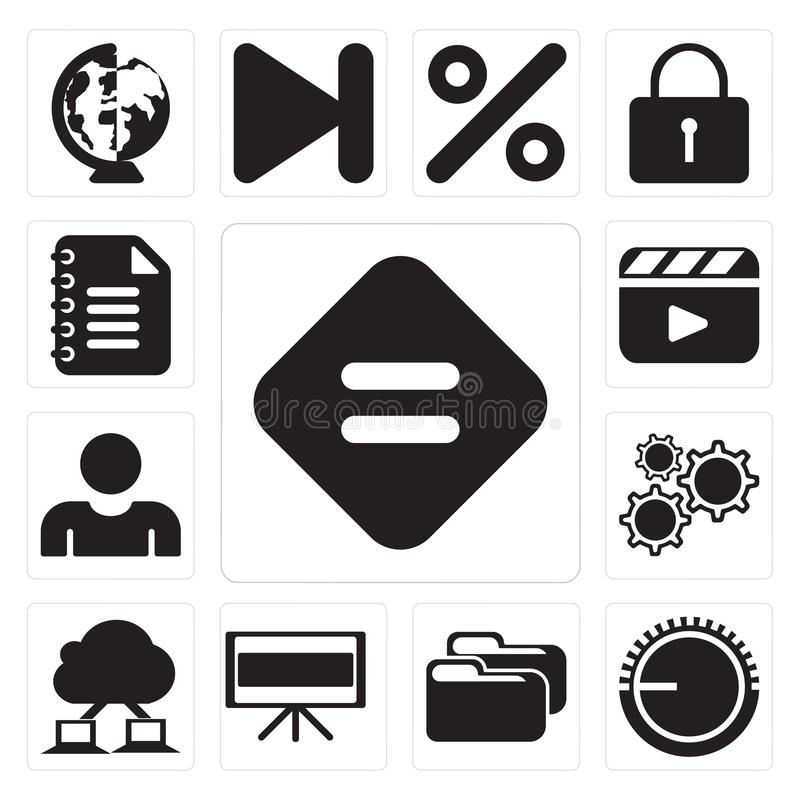Set of Equal, Volume control, Folder, Television, Cloud computing, Settings, User, Video player, Notepad, editable icon pack. Set Of 13 simple editable icons stock illustration