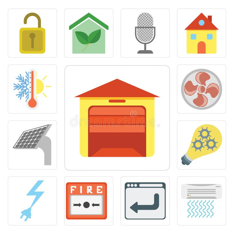 Set of Garage, Air conditioner, Browser, Fire alarm, Power, Smart, Panel, Fan, Thermostat, editable icon pack stock illustration