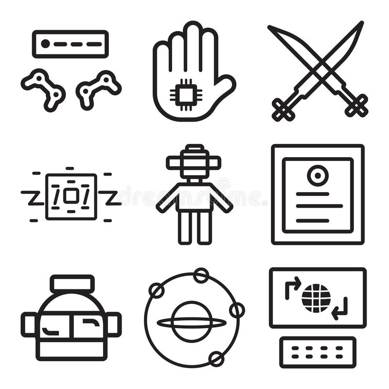 Set Of 9 Simple Editable Icons Such As Laptop Outer Space
