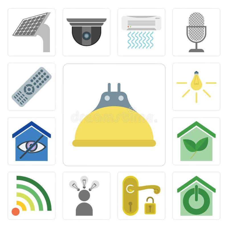 Set of Lightbulb, Smart home, Handle, Smart, Wifi, Light, Remote stock illustration