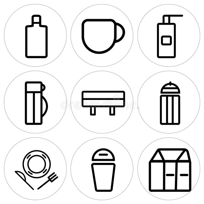 Set Of 9 Simple Editable Icons Such As Milk Trash Dish Stock