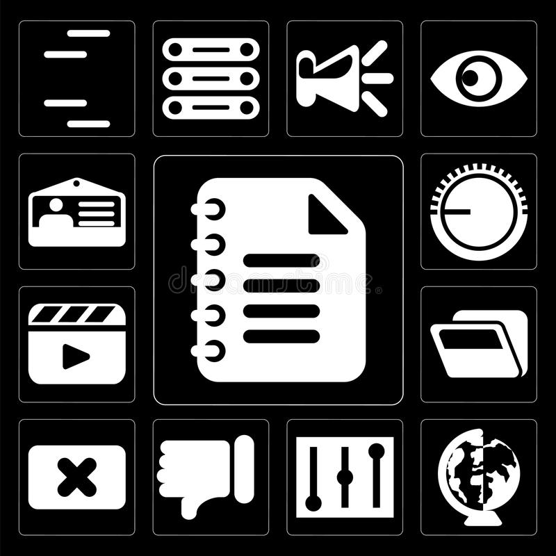 Set of Notepad, Worldwide, Controls, Dislike, Close, Folder, Video player, Volume control, Id card, editable icon pack. Set Of 13 simple editable icons such as stock illustration