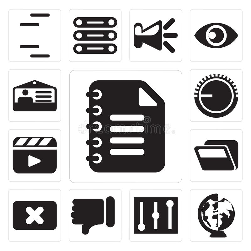Set of Notepad, Worldwide, Controls, Dislike, Close, Folder, Video player, Volume control, Id card, editable icon pack. Set Of 13 simple editable icons such as vector illustration