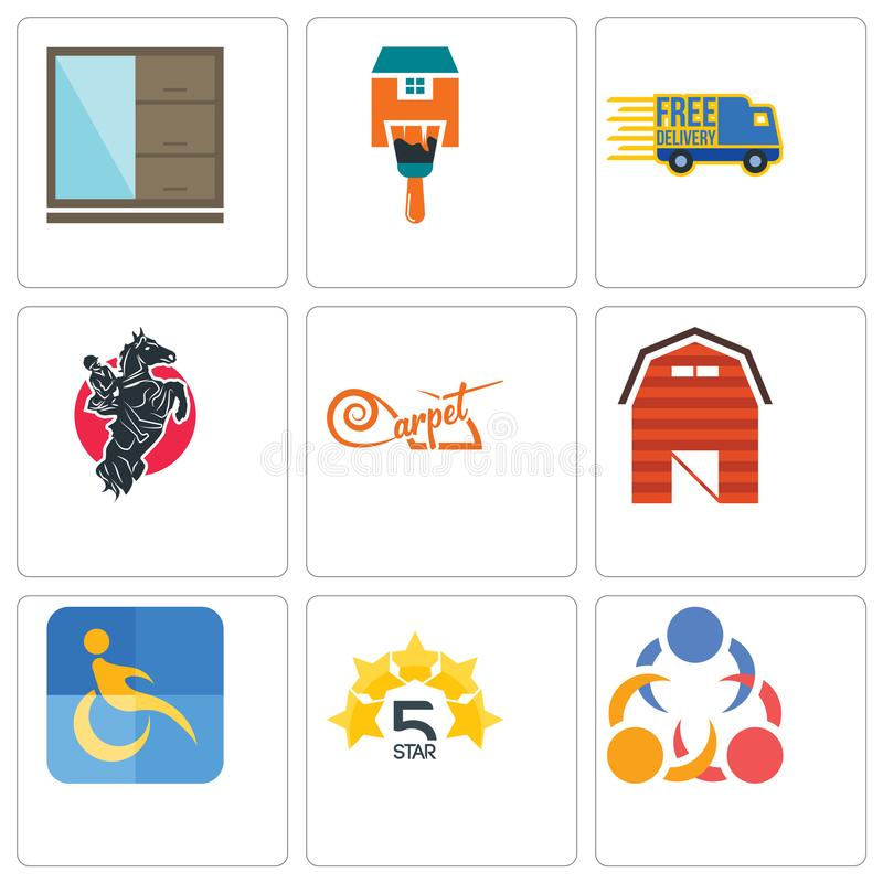 Set Of 9 Simple Editable Icons Such As 3 People, 5 Star, Disability ...