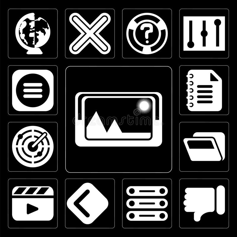 Set of Picture, Dislike, Database, Back, Video player, Folder, R. Set Of 13 simple editable icons such as Picture, Dislike, Database, Back, Video player, Folder royalty free illustration