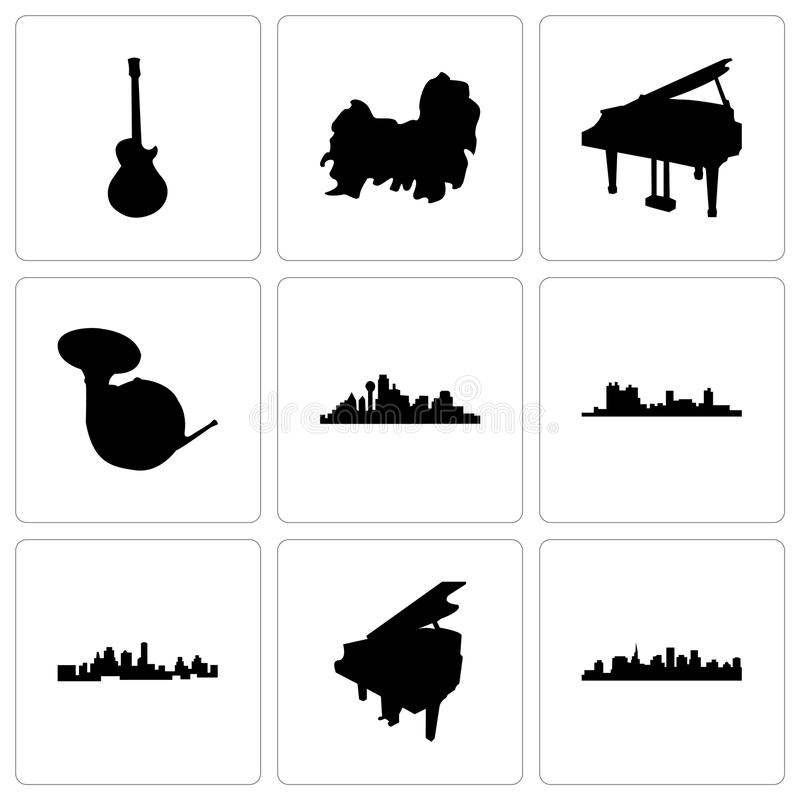 Set Of 9 Simple Editable Icons Such As St Paul Grand Piano Kansas