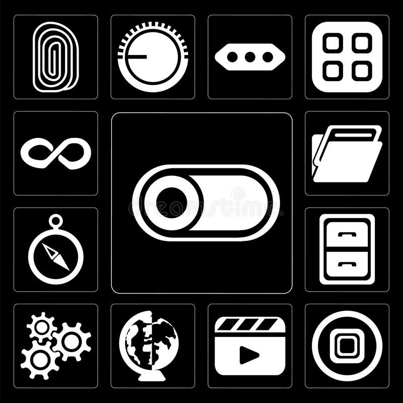 Set of Switch, Stop, Video player, Worldwide, Settings, Archive, Compass, Folder, Infinity, editable icon pack. Set Of 13 simple editable icons such as Switch stock illustration
