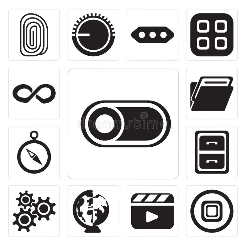 Set of Switch, Stop, Video player, Worldwide, Settings, Archive, Compass, Folder, Infinity, editable icon pack. Set Of 13 simple editable icons such as Switch royalty free illustration