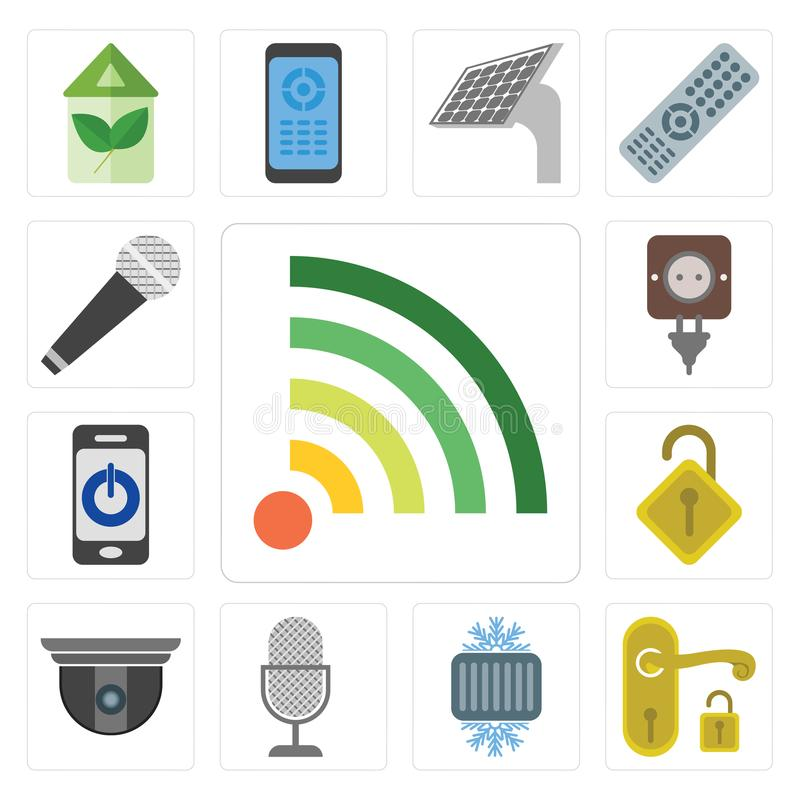 Set of Wifi, Handle, Cool, Voice control, Security camera, Locke stock illustration
