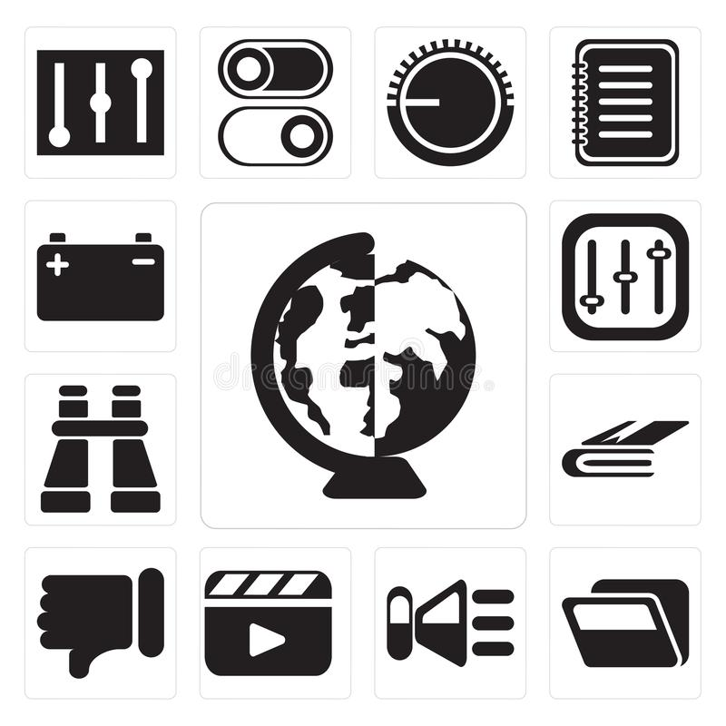 Set of Worldwide, Folder, Speaker, Video player, Dislike, Notebook, Binoculars, Controls, Battery, editable icon pack. Set Of 13 simple editable icons such as royalty free illustration