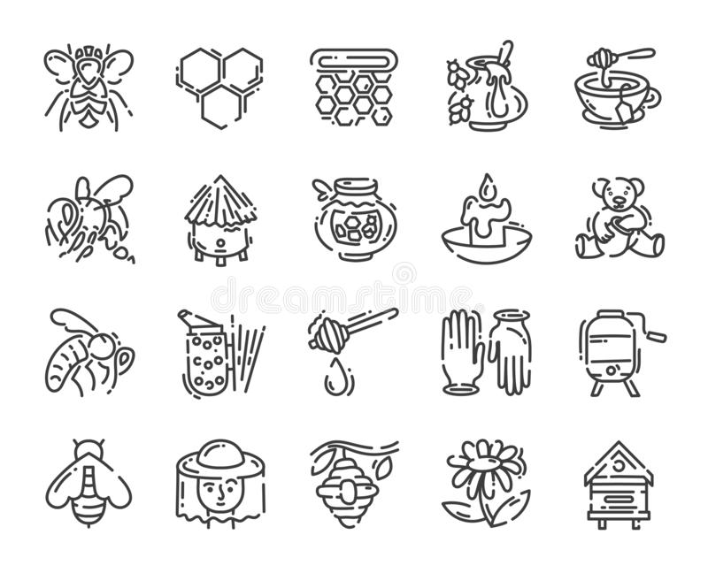 Set of simple flat line art icon about beekeeping and apiary pictogram design vector illustration